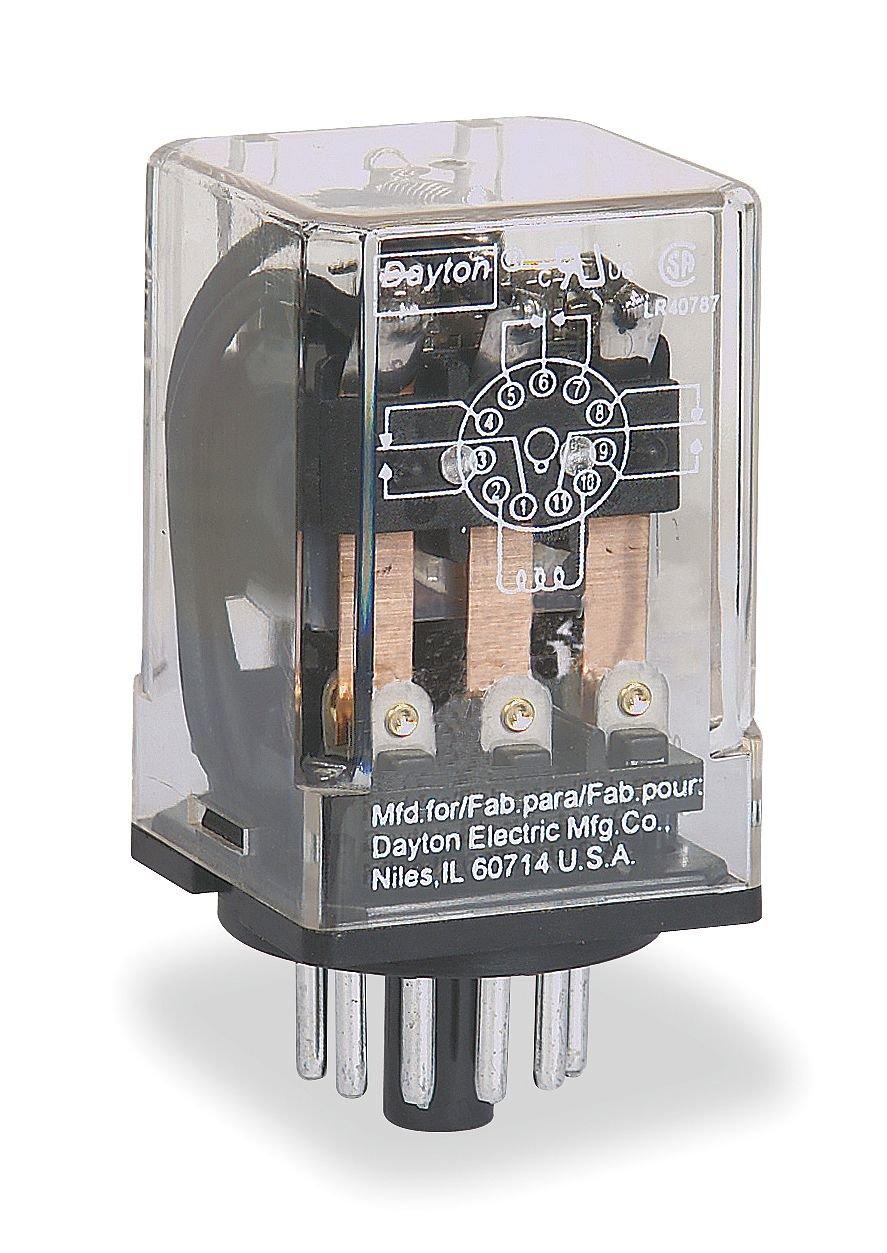 1- Dayton 3 Pole 120VAC General Purpose Plug-In Relay 3X742E 10A 11 PIN 3X742
