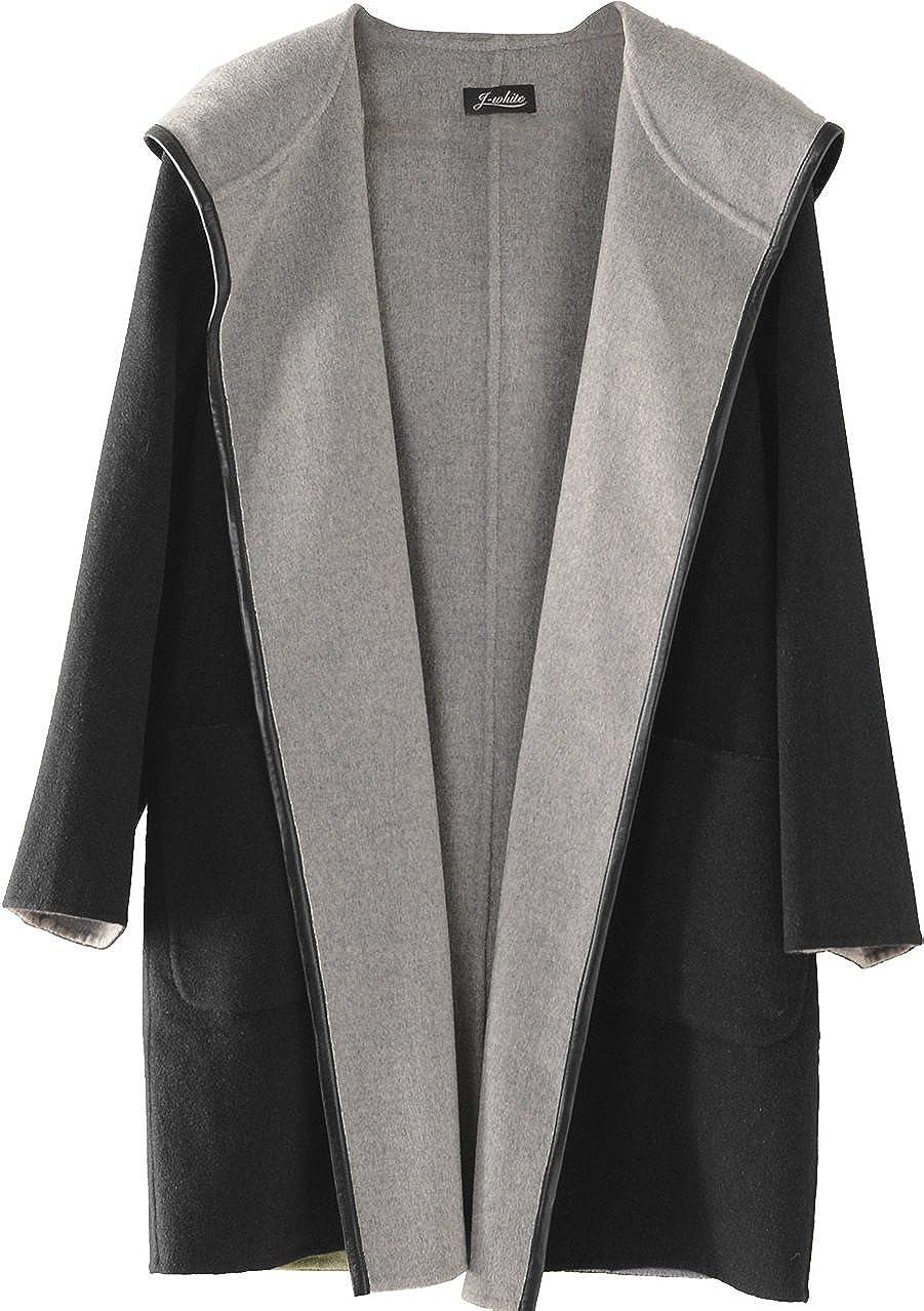 カシミヤ混 ウール コート 一枚仕立て ラムレザー パイピング フード付 B079GMB6G5  ブラック M