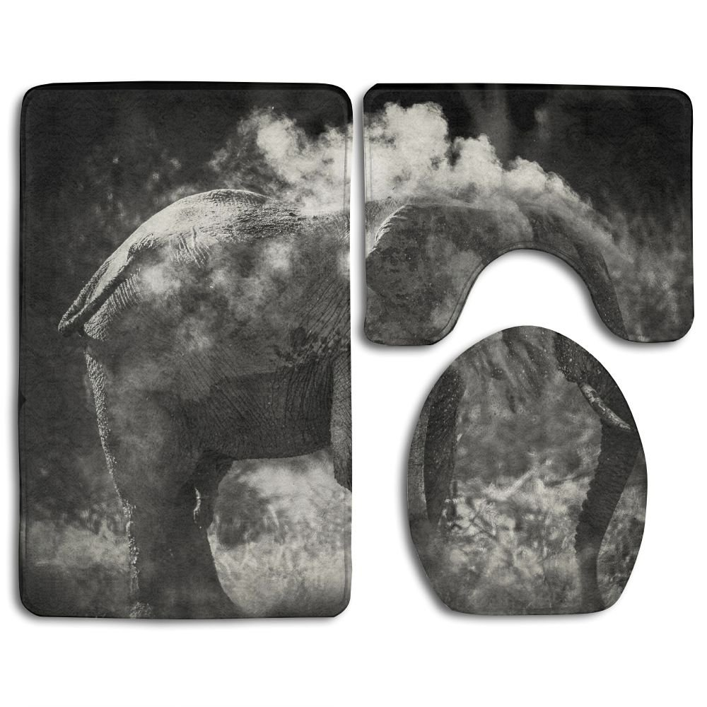 Bathroom Non-Skid Carpet Bath Rugs 3 Pieces Set Water-Absorbing Elephant Sand Wallpaper Flannel Toilet Floor Bath Mats Contour Rug Lid Cover by Huayaa