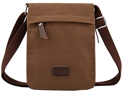 Amazon.com | Berchirly Small Vintage Canvas Leather Messenger ...