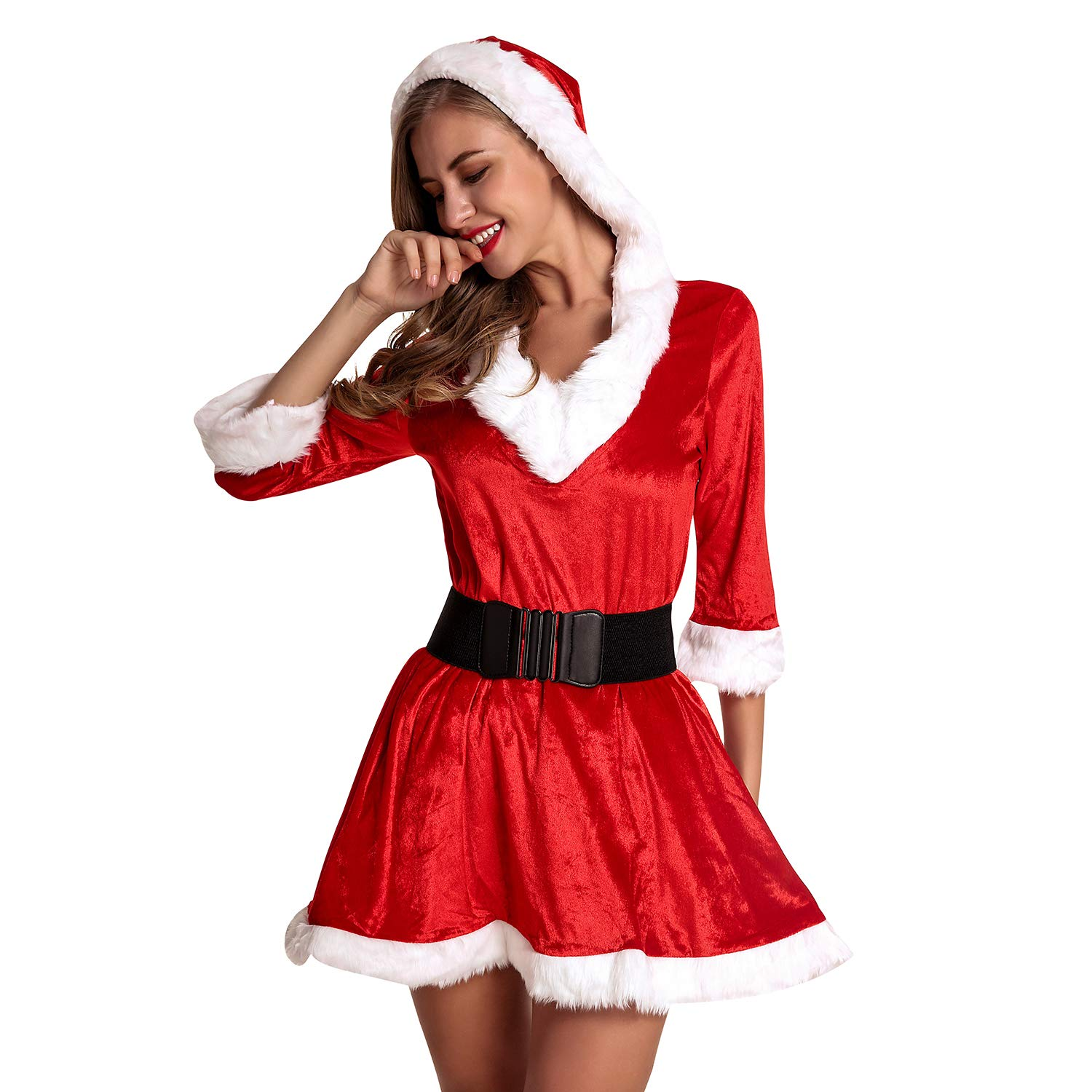 c42313a81cd7 Amazon.com: Defitshape Women's Christmas Costume Dress Set Mrs. Santa Claus  Red 2 Piece Petticoat Outfits Red One Size fits S/M/L: Clothing