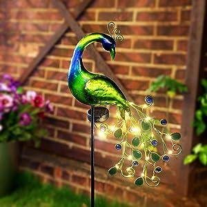 Solar Garden Lights Metal Decorative Garden Stakes Waterproof Peacock Solar Stake Light for Outdoor Patio Yard Pathway