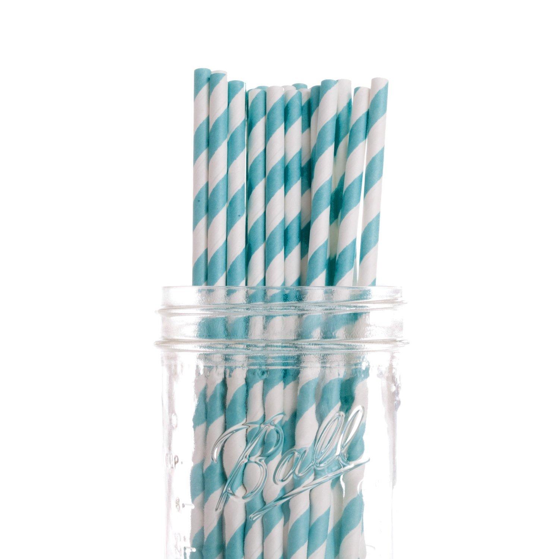 Dress My Cupcake 6-Inch Vintage Paper Cakepop Straws, Aqua Striped, Case of 6200