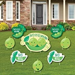 Double The Fun - Twins Two Peas in a Pod - Yard Sign & Outdoor Lawn Decorations - Baby Shower or First Birthday Party Yard Signs - Set of 8
