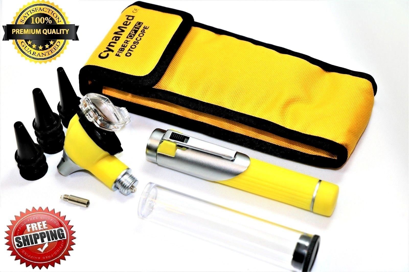 Premium STUDENT HOME USE LED Bright Light ENT Diagnostic Otoscope Pocket Size ( YELLOW) + 1 Free Extra Replacement Bulb ( CYNAMED )