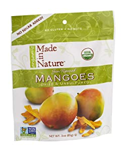 Made in Nature Sun Ripened Mangoes Dried & Unsulfured 3 OZ (Pack of 24)