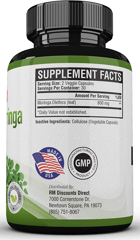 Pastillas De Moringa para Adelgazar Natural - Fuente de Vitaminas, Minerales Y Proteina Completa - 60 Capsulas