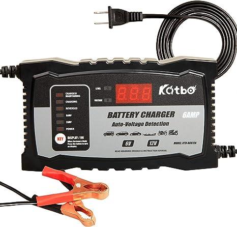 Amazon.com: Cargador de batería KATBO 2 A 6 A 6 V 12 V auto ...