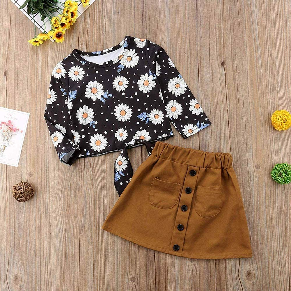 2Pcs Baby Girls Dresses Floral Sunflower Long Sleeve T-Shirt Tops with A-line Skirt for Girls Kids Outfits Set 18-24M//SIZE100