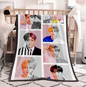 Dolpind Kpop BTS Blanket Love Yourself Flannel Throws Blankets SUGA Jimin V Jungkook Rap Blankets Merchandise