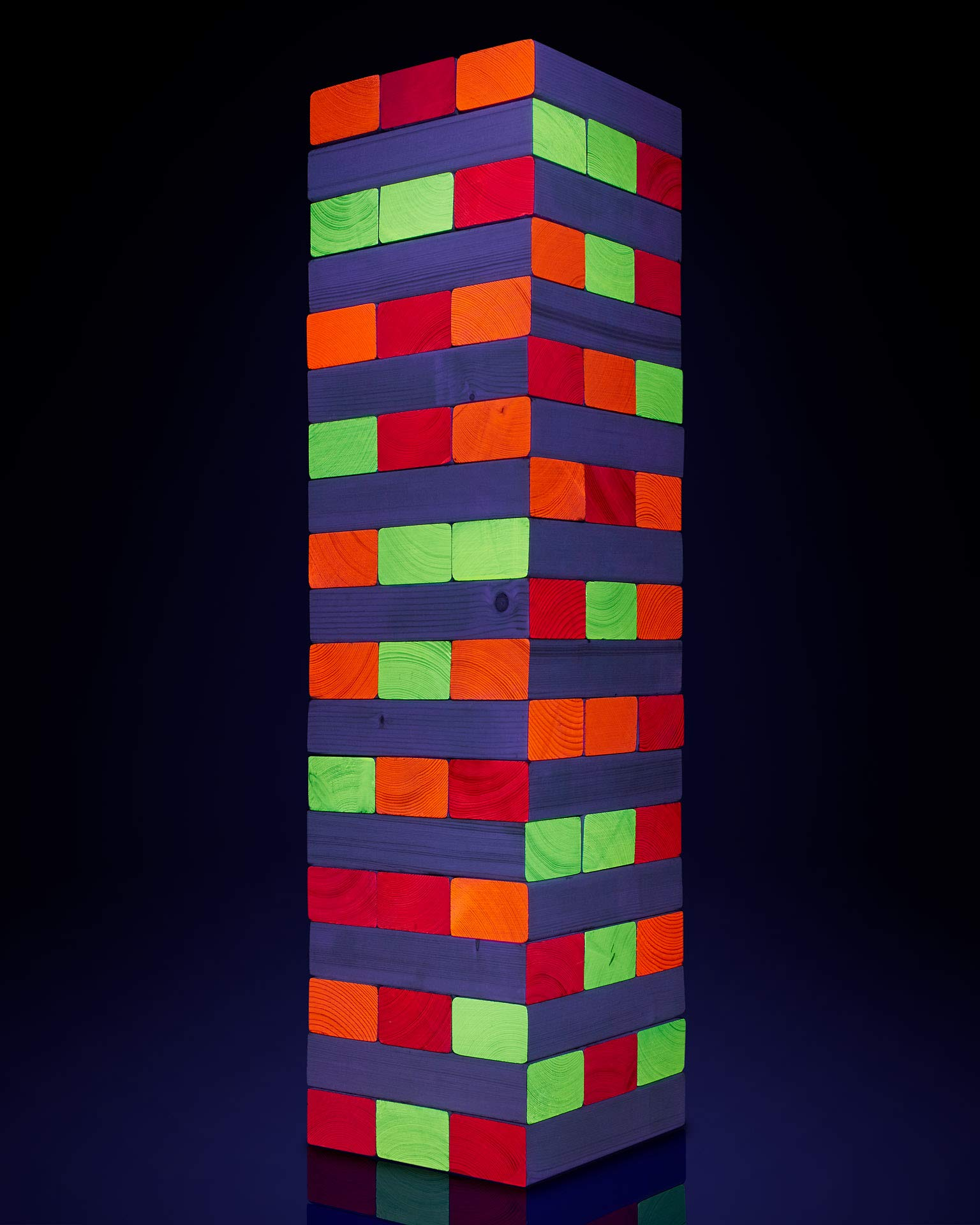 Limelight Games Ultimate Black Light Giant Tumbling Tower - Entertain Your Large Group Day Or Night - Glowing Blocks - Premium Carrying Case - Precision Milled Wooden Stacking Block Set by Limelite Games (Image #2)