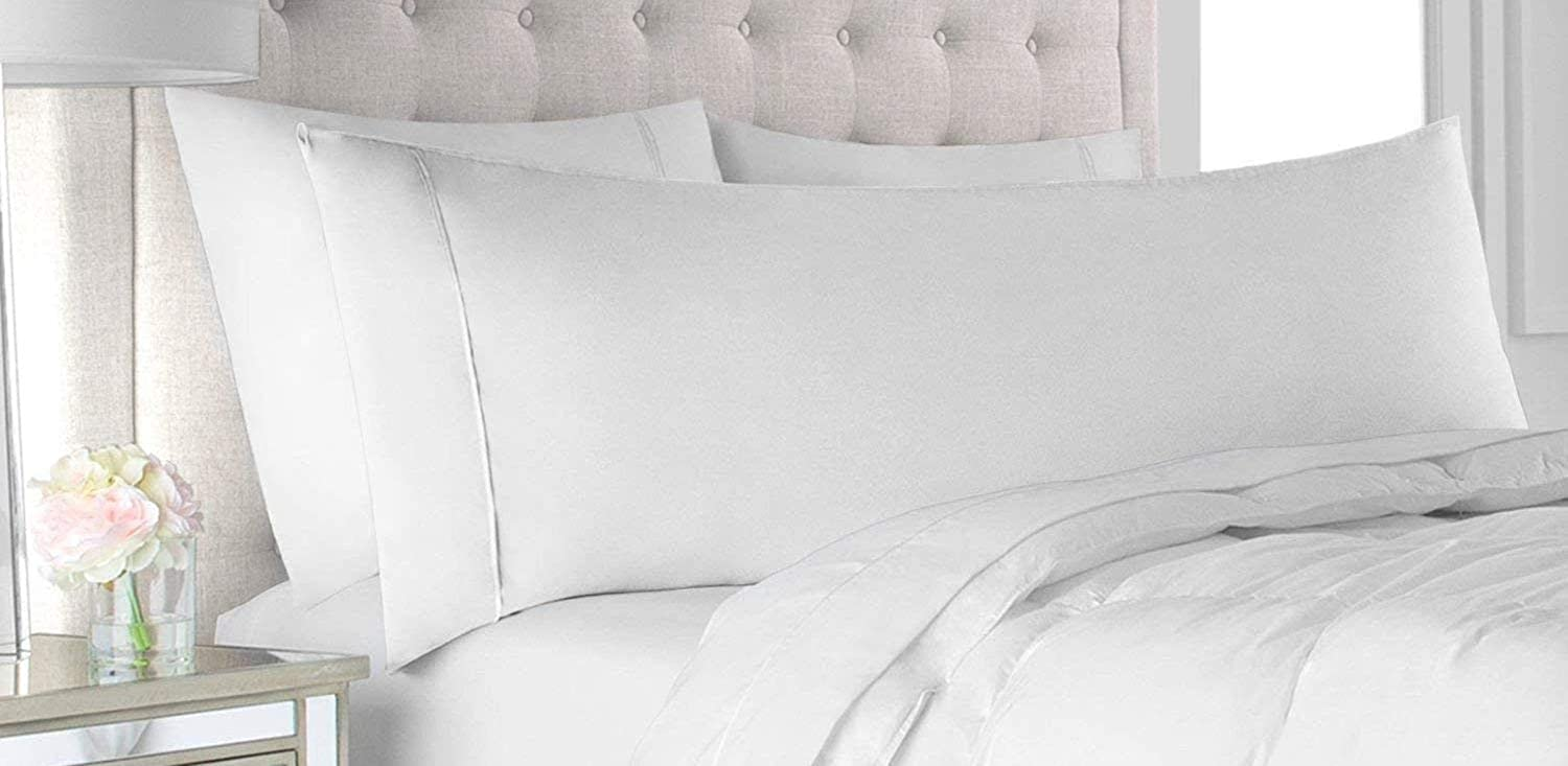 Crown Collection American Size Set of 2pcs Pillow Case 650 Thread Count Standard 20x26'' Inch Size Export Quality White Solid Egyptian Cotton