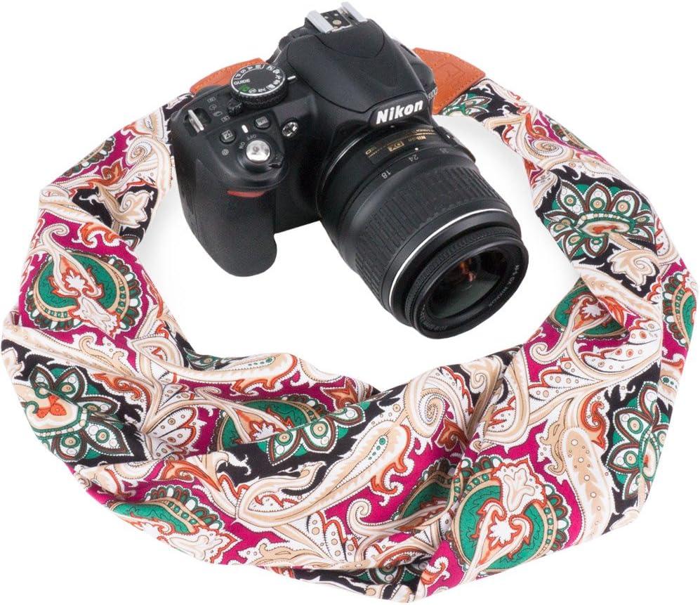 DC Orange Flower Wolven Soft Scarf Camera Neck Shoulder Strap Belt Compatible with All DSLR//SLR//Digital Camera //Instant Camera//Nikon//Canon//Sony//Olympus//Leica//Fujifilm Etc