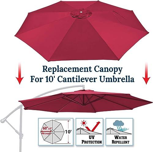 BenefitUSA 10ft Replacement Umbrella Canopy Outdoor Patio Umbrella Canopy 8 Ribs Canopy Only Burgundy