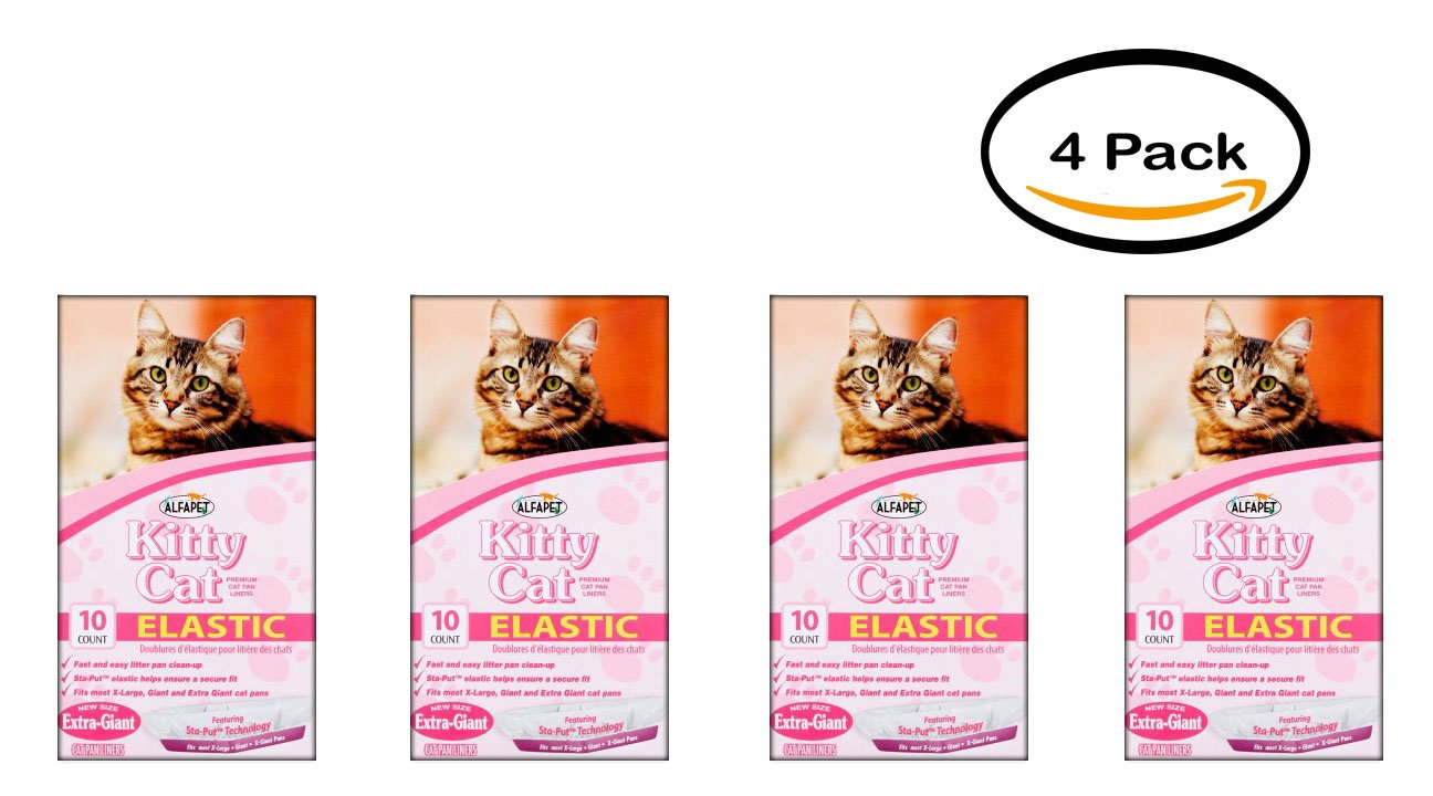 Pack of 4 - Alfapet Kitty Cat Elastic Cat Pan Liners, 10 count by Alfapet
