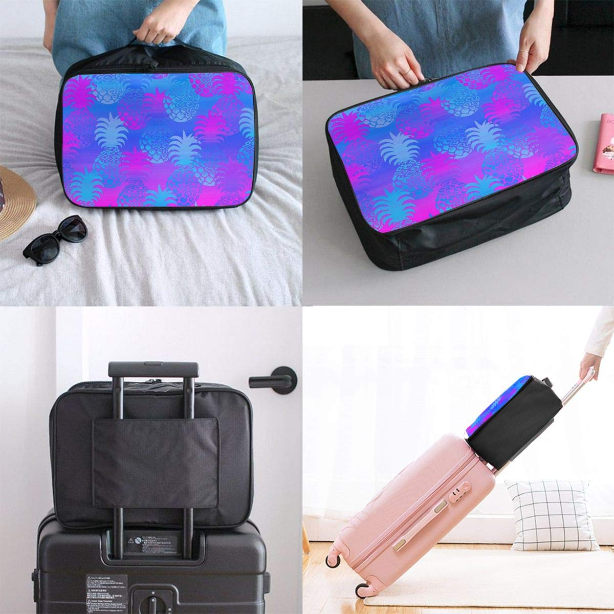 Women /& Men Foldable Travel Duffel Bag Blue And Purple Pineapples For Luggage Gym Sports