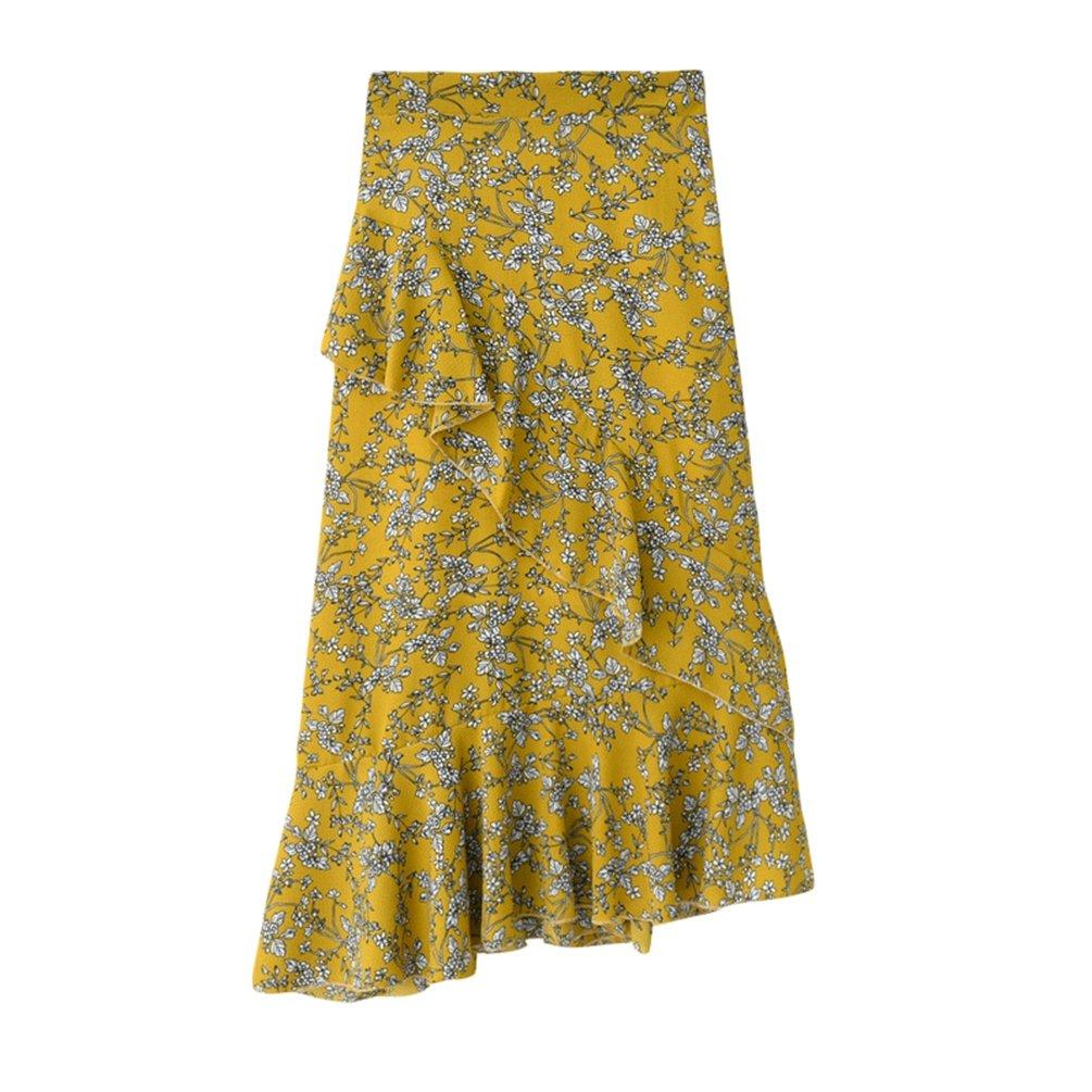 Yiiquanan Damen Unregelmäßig Blumendruck Lange Boho Rock Maxirock Hohe  Taille Chiffonrock Paket Hüfte (Aprikose, One Size)  Amazon.de  Bekleidung d5c320acee