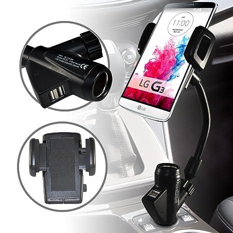 LG G3 del brazo flexible del coche del sostenedor del teléfono con construido en el cargador, más ligero de Port y USB