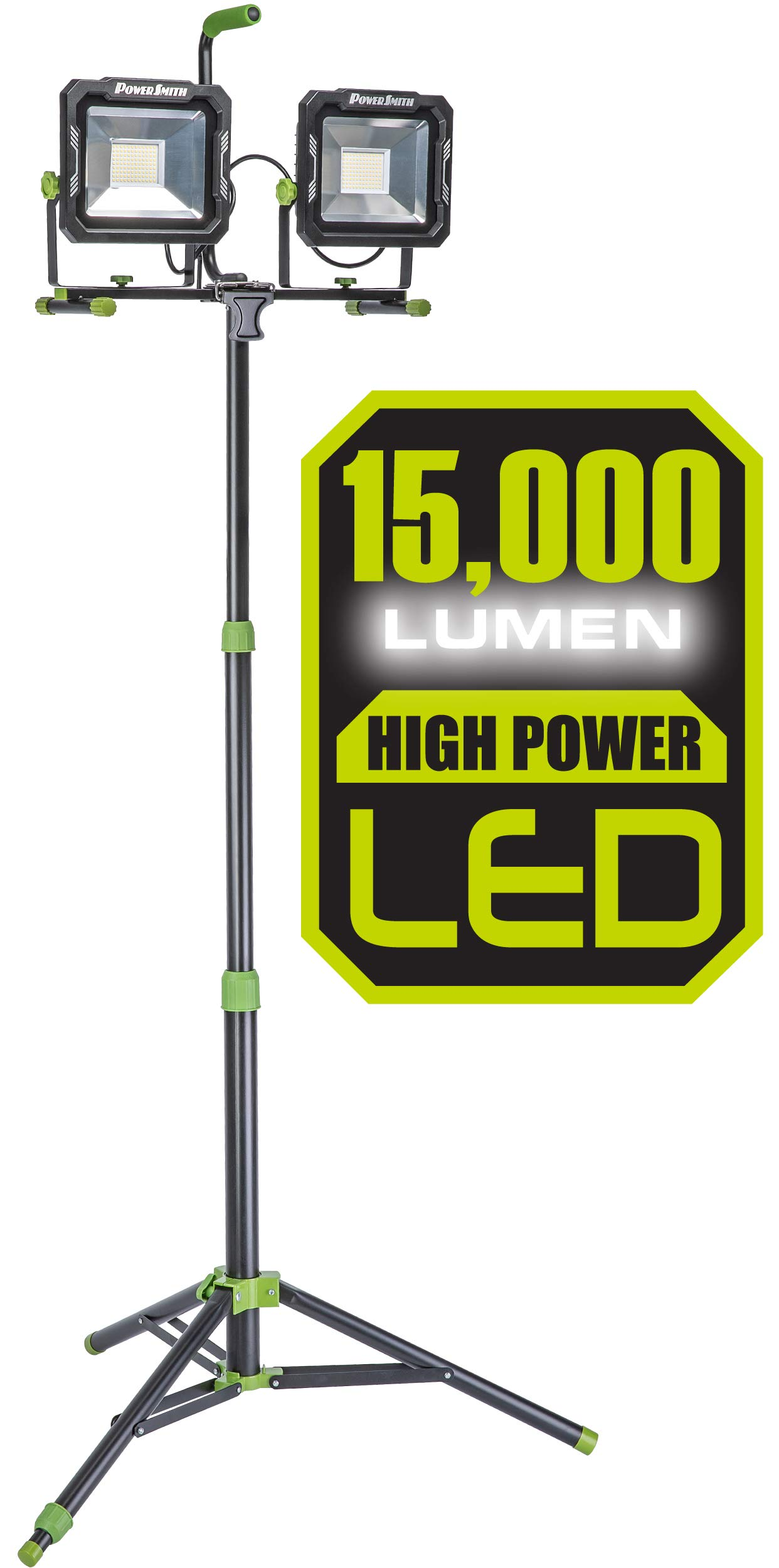 PowerSmith PWL2150TS 15,000 Lumen LED Dual Head work light with Heavy-Duty Adjustable Metal Telescoping Tripod Stand Black and Green