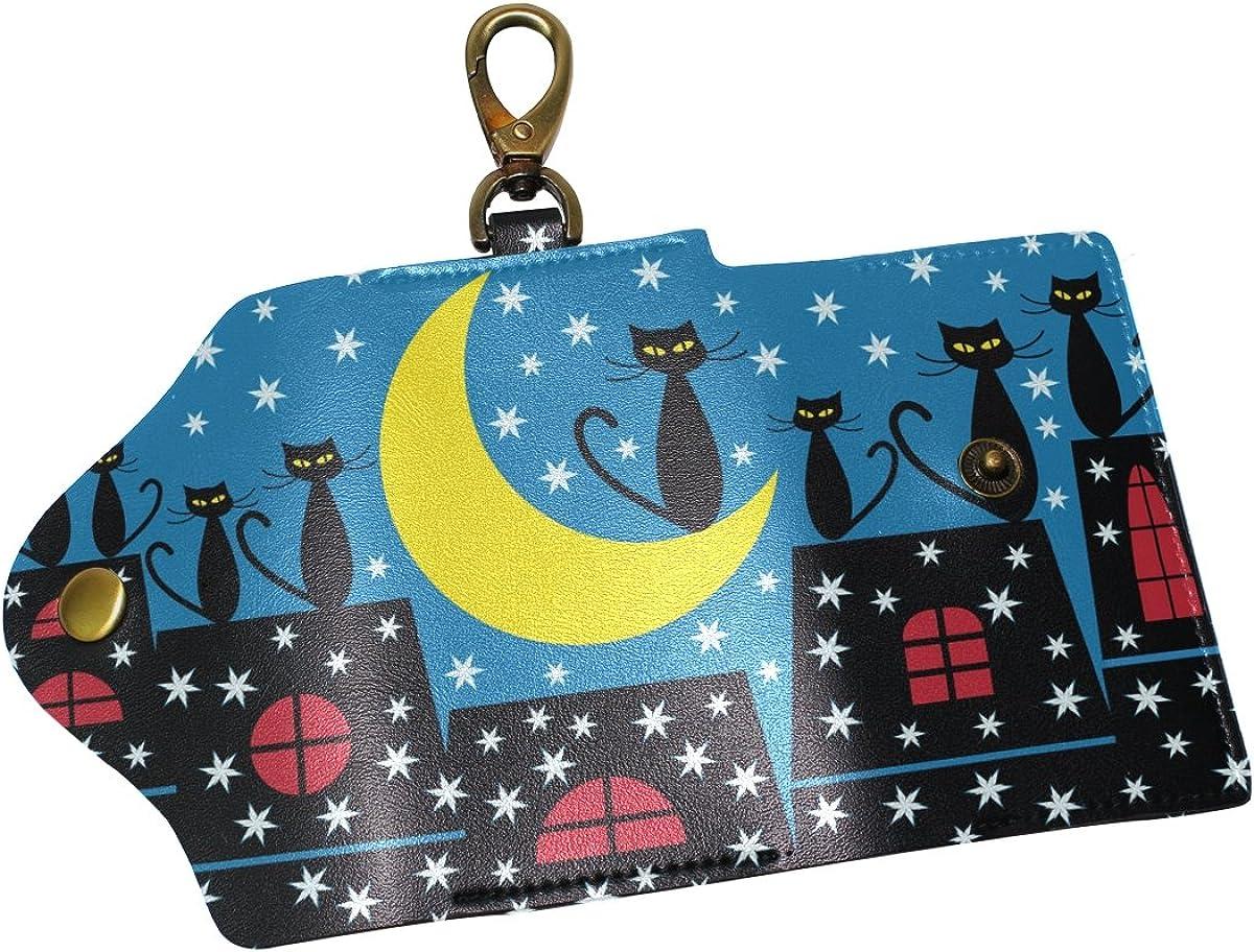 DEYYA Winter Scene With Cats Leather Key Case Wallets Unisex Keychain Key Holder with 6 Hooks Snap Closure