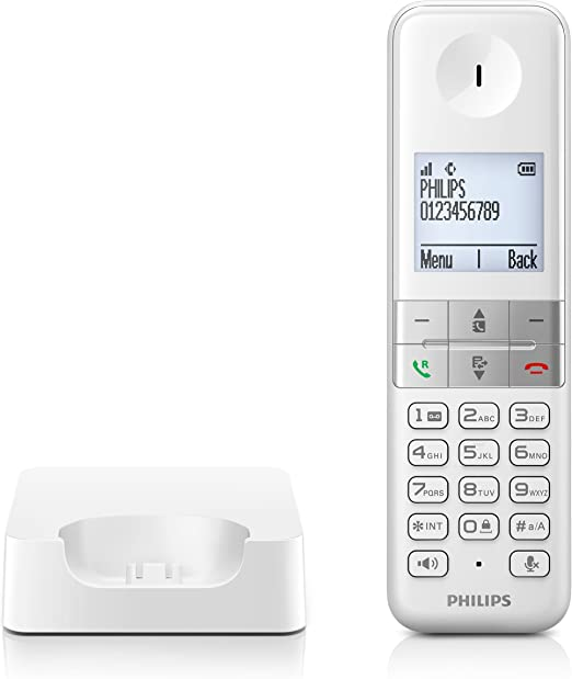 Philips D4501W - Teléfono Inalámbrico Dect (Manos Libres, Pantalla 4.6 cm), Blanco: Amazon.es: Electrónica