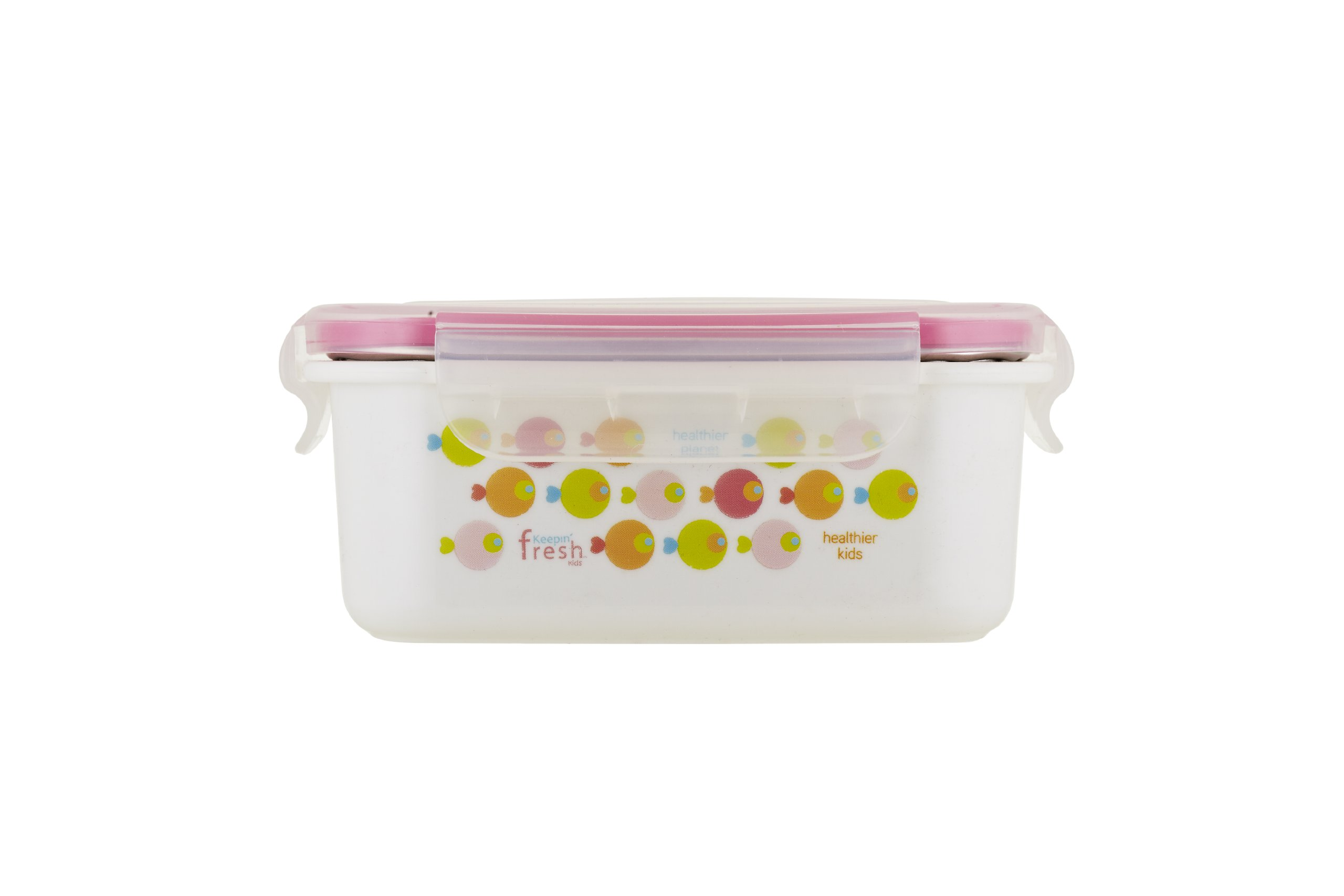 Innobaby Keepin' Fresh Stainless Bento Snack or Lunch Box with Lid for Kids and Toddlers. BPA Free. Pink Fish.