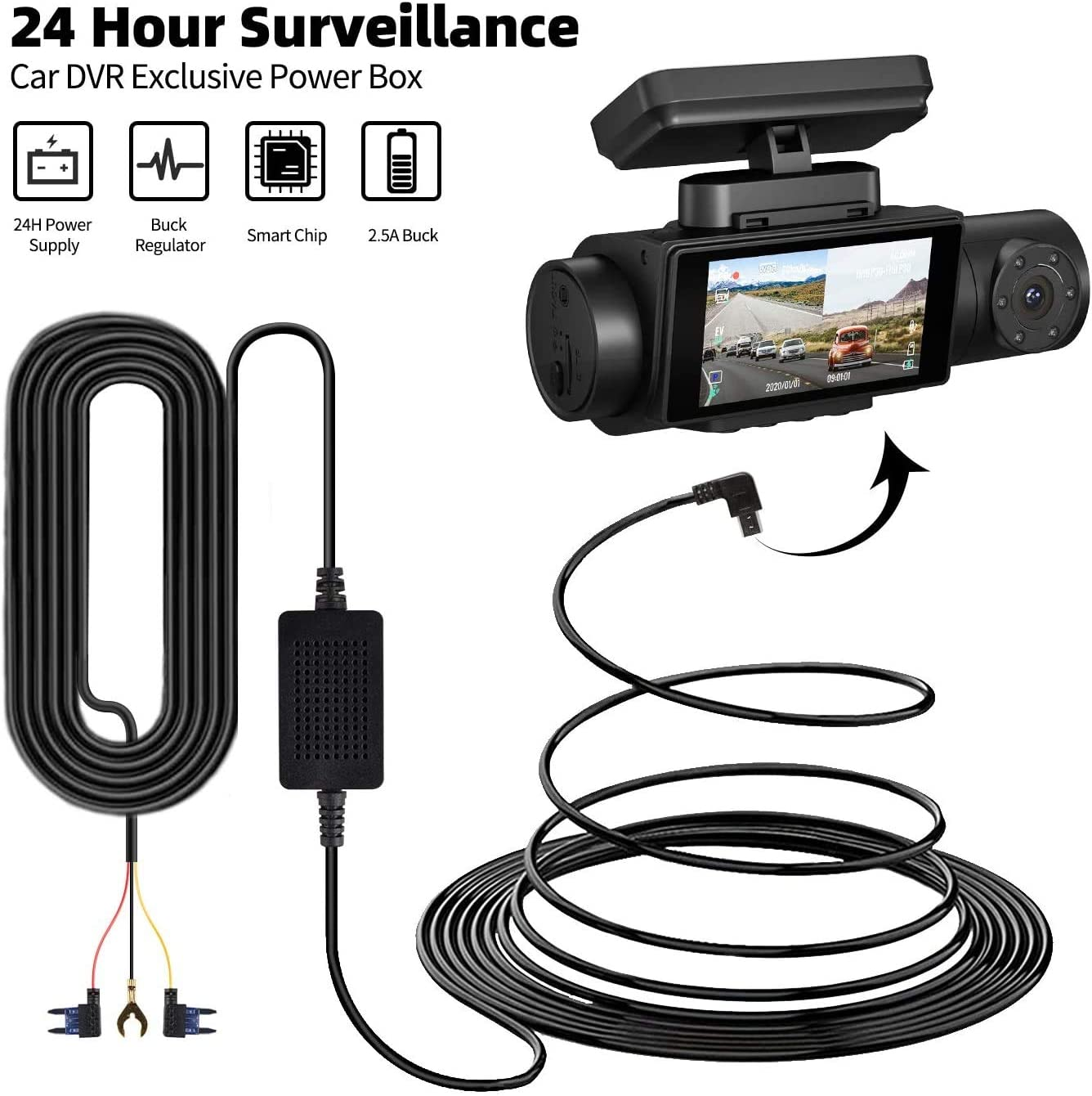 Front Camera 4K Dual dashcam 2560P+ 1080P Infrared Night Vision Parking Monitoring Built-in WiFi GPS G Sensor and Hard Wire AQP Dual Dash cam Dual Sony Sensor