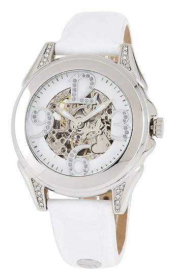 Carlo Monti Modica - Reloj analógico de mujer automático con correa de piel blanca - sumergible