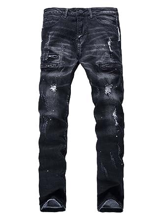 acf53e7e YTD Men's Black Jeans Ripped Distressed Slit Denim Slim Stretch Motor Pants  (US 28,