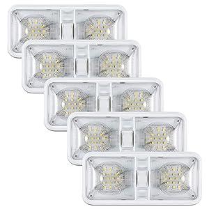 Kohree 12V Led RV Ceiling Dome Light RV Interior Lighting for Trailer Camper with Switch, White 600 Lumens (Pack of 5)