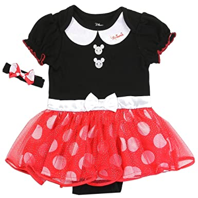 e161ae72f Disney Baby Minnie Minnie Mouse Girls Tutu Creeper Dress With Matching  Headband - Multicoloured - 6/9 Months: Amazon.co.uk: Clothing
