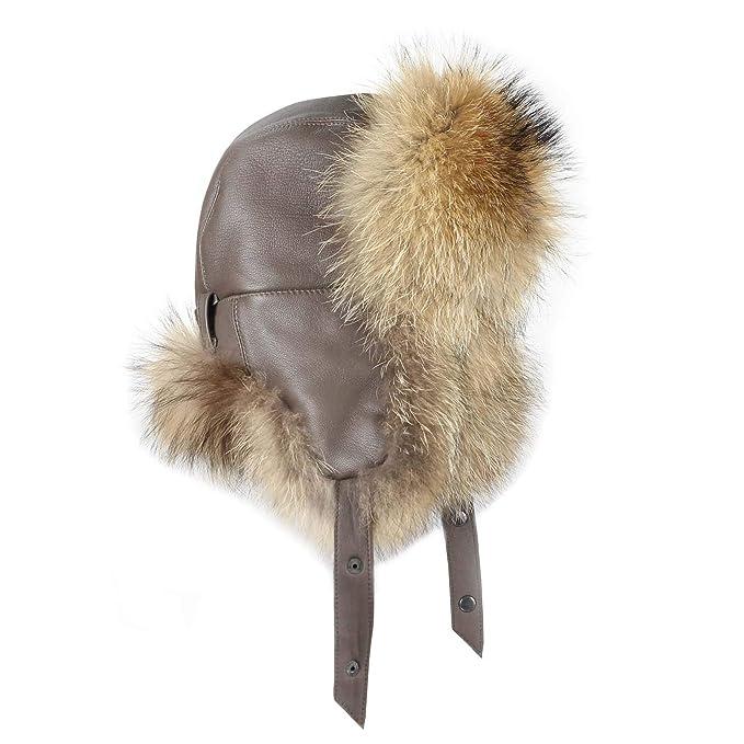 Hombre Mapache Gorro Pelo - Gorro de Trapper - Gorro de Aviador Invierno Gorro  Gorro de esquí Fox usch Anka Polar Gorro Ruso Real Fell  Amazon.es  Ropa y  ... 11fd596740f