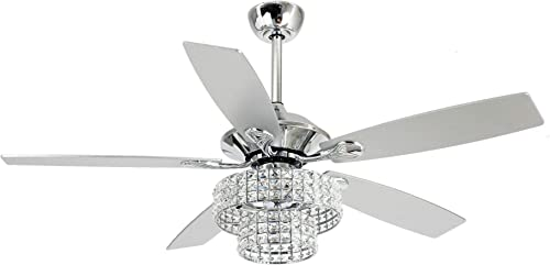 52 Inch Ceiling Fan With Lights Remote Control Reversible 5 Blades Crystal Chandelier Fan 4 Edison Bulb, Not Included, Chrome