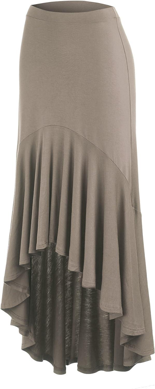 Made in USA MBJ Womens Asymmetrical High Low Ruffle Hem Skirt