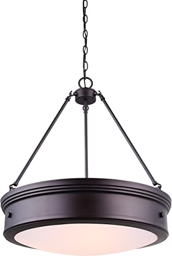 CANARM LTD ICH624A04ORB20 Boku ORB 4 Light Chandelier Oil Rubbed Bronze with Flat Opal Glass