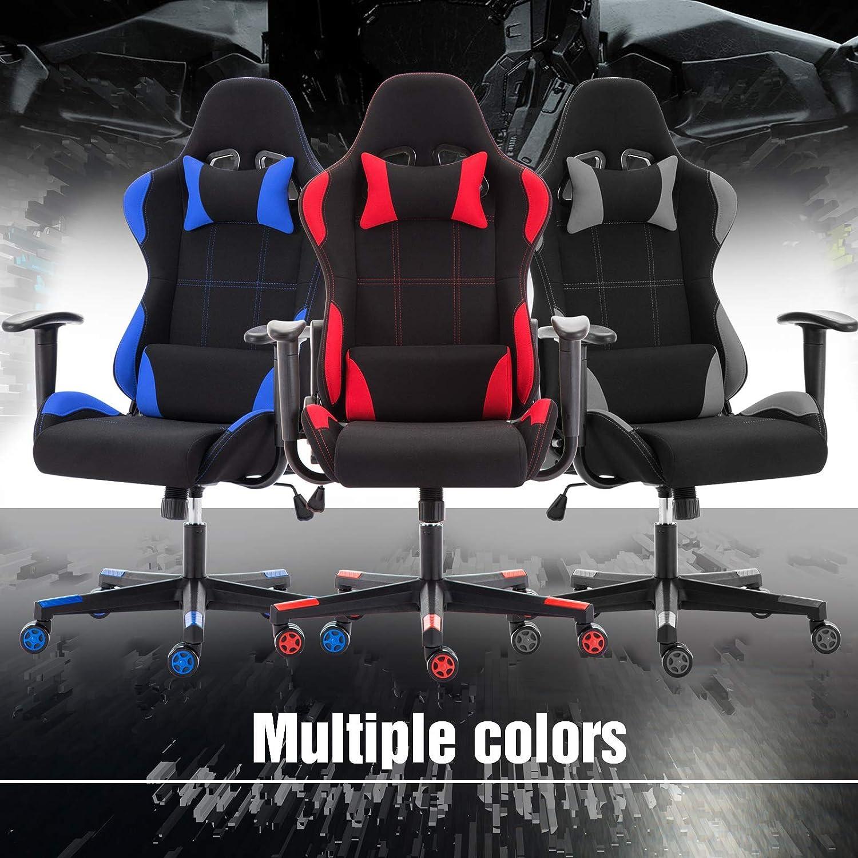 Sedia Gaming di Tessuto Poltrona Sedia da Ufficio con Supporto Testa Ergonomica Cuscino Lombare Schienale reclinabile Poltrona Gaming Sedile Regolabile Seduda Alta Comodo Spugna Imbottita Blu