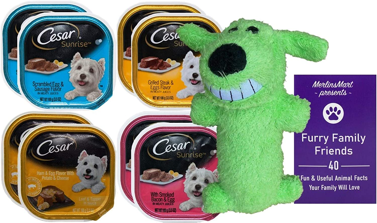 Cesar Breakfast Dog Food 4 Flavor 8 Can Variety (2) each: Scrambled Egg Sausage, Grilled Steak Eggs, Ham Egg Potato Cheese, Smoked Bacon Egg (3.5 Ounces) - Plus Squeak Toy and Fun Facts Booklet Bundle