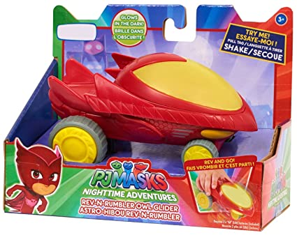 Pj Masks Exclusive Night Time Adventures Glow in the Dark Rev-N-Rumbler Owl