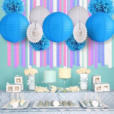 9c17bbc89 Azul   Blanco fiesta decoración fondo pared boda tema pompón de papel de  seda borla guirnalda