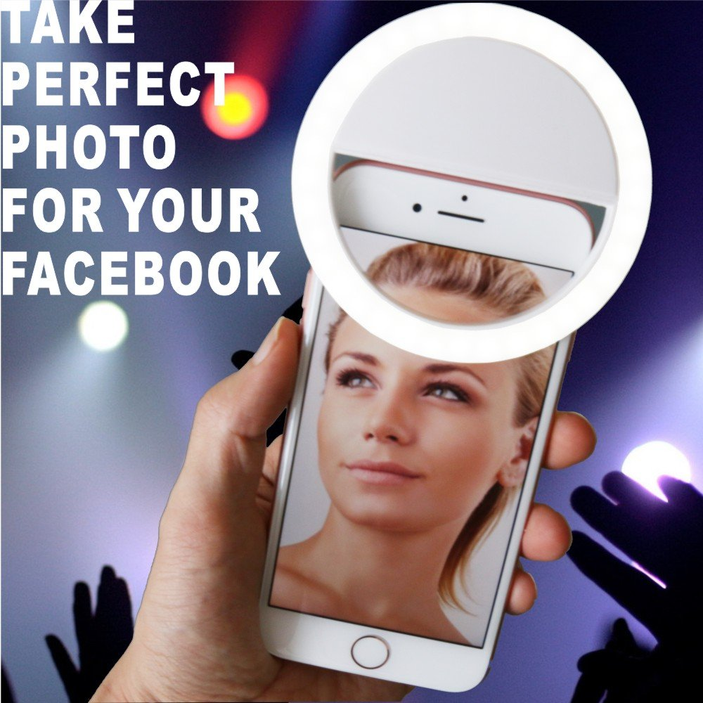 Auxiwa Clip on Selfie Ring Light [Rechargeable Battery] with 36 LED for Smart Phone Camera Round Shape, White by Auxiwa (Image #7)