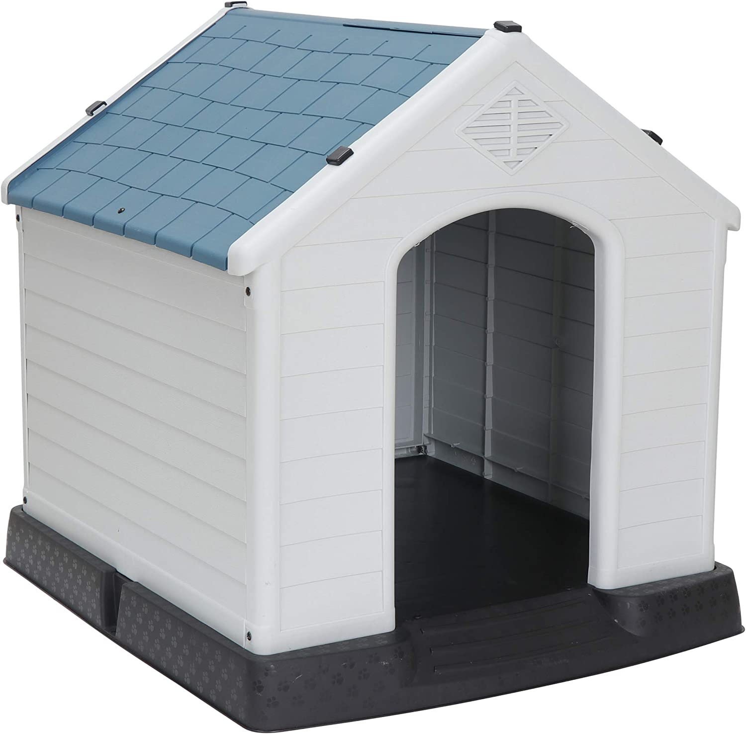 Amazon Com Zeny Plastic Dog House Water Resistant Dog Kennel For Small To Medium Sized Dogs All Weather Indoor Outdoor Doghouse Puppy Shelter Pet Supplies