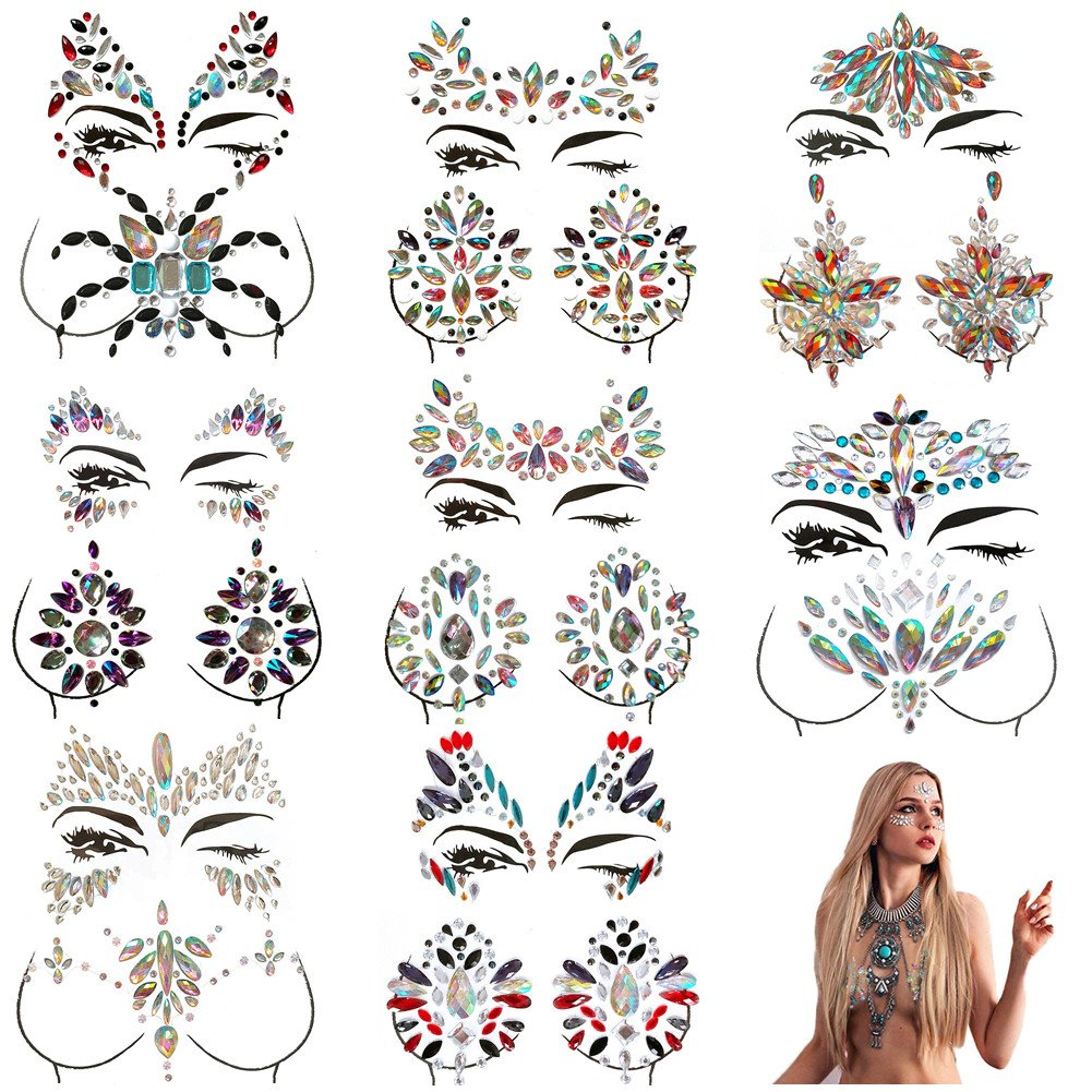 MineSign 8 Pack Face Jewels Festival Tattoo Set Face Gems Glitter Bindi Costume Makeup Rhinestone Eyes Body Rave Pasties for Party Roller (Mermaid Face Chest Kit) by MineSign
