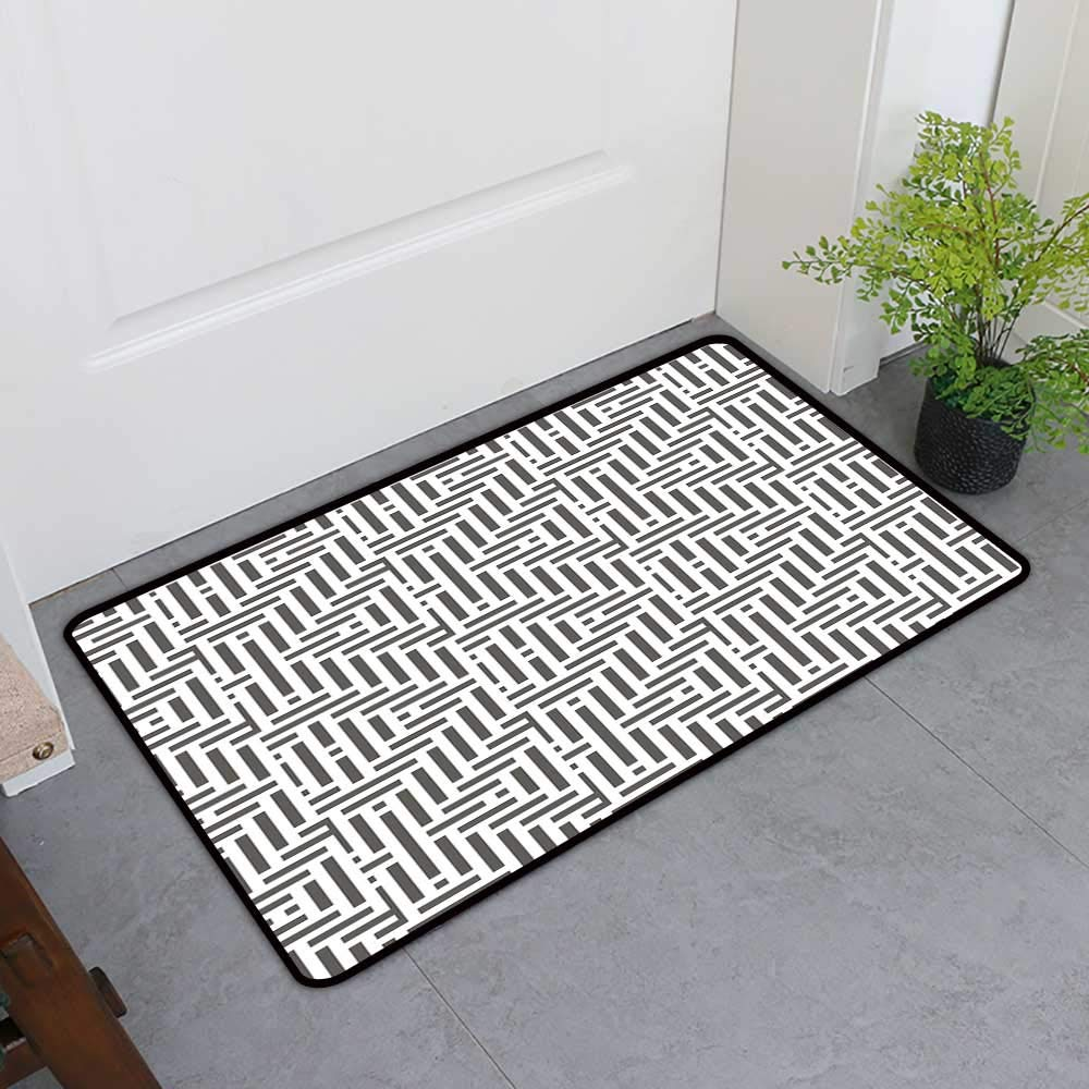 TableCovers&Home Absorbs Mud Doormat, Geometric Decorative Rugs for Kitchen, Vertical Horizontal Lines Squares Abstract Motifs Ornament Inspirations (Charcoal Grey White, H24 x W36)