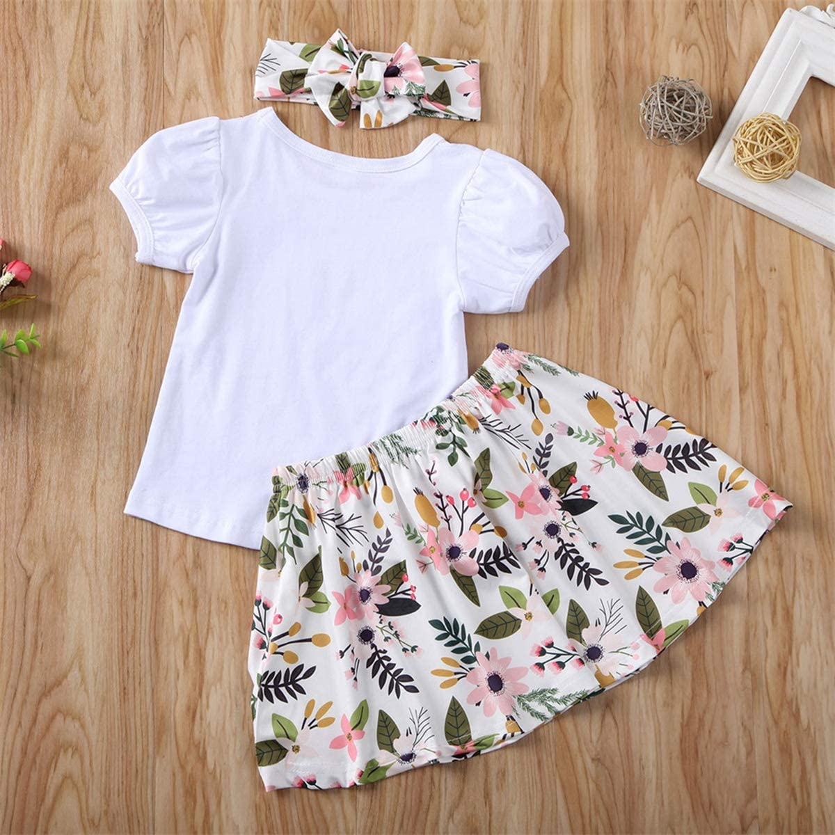 DaMohony Baby Girls Big Littler Sisters Matching Outfits Newborn Toddler Kid Girls Floral Clothes Set