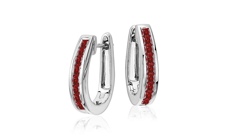 NYC Sterling Cubic Zirconia Princess Oval Colored Hoop Earrings