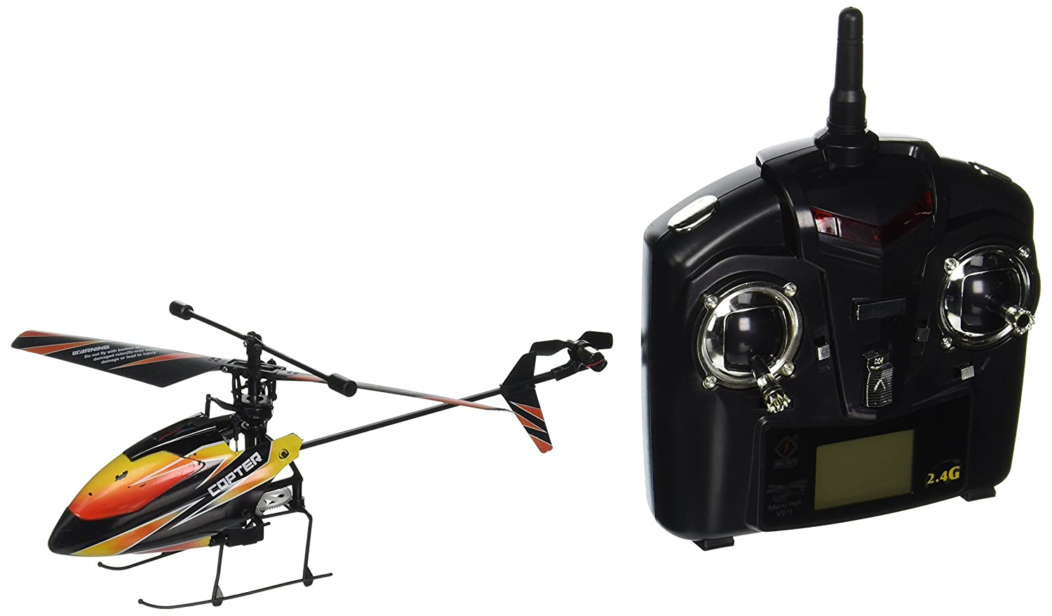 4 Battries V911 RC Helicopter 4ch Single blade Single Rotor Gyro In// Outdoor