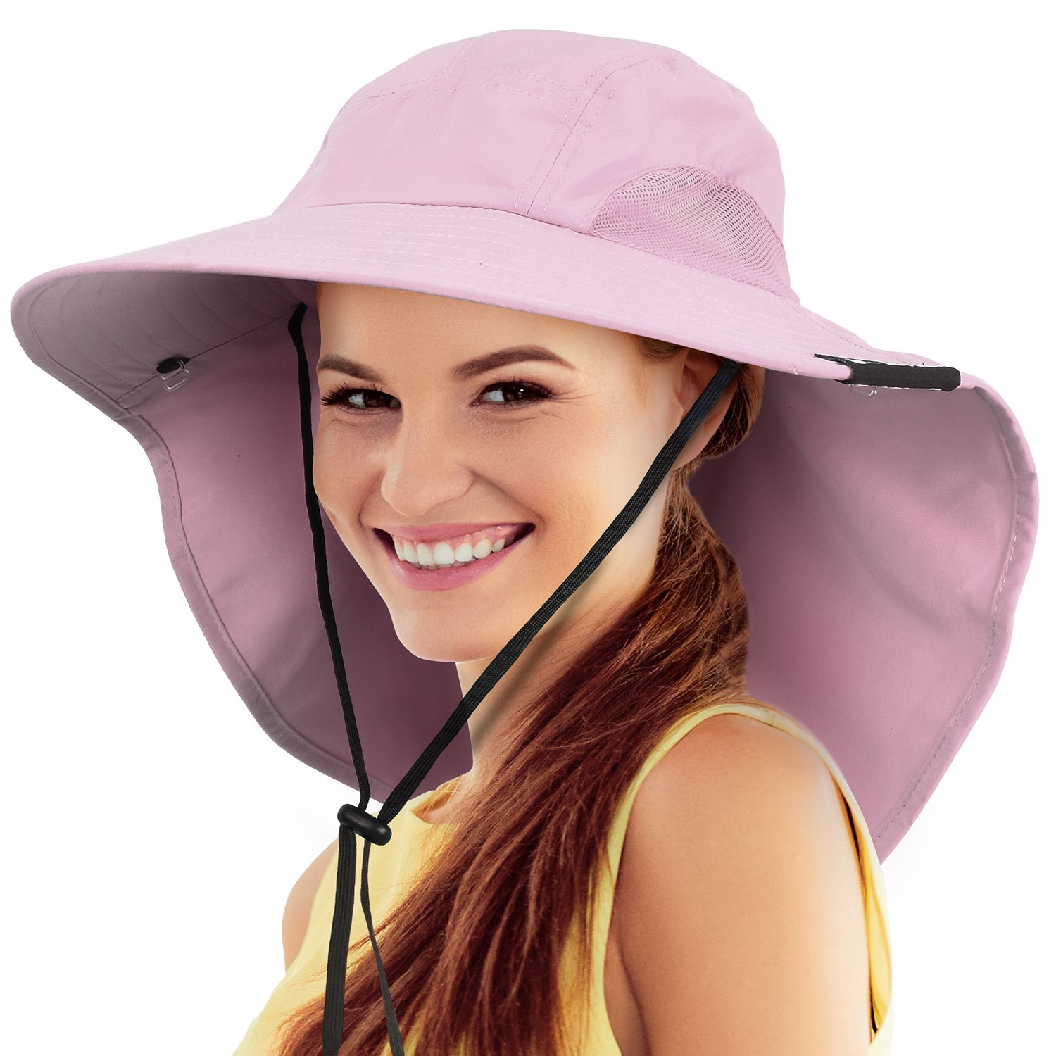 6bbd4ec265f61 Safari Sun Hats for Women Fishing Hiking Cap with Neck Flap Wide Brim Hat