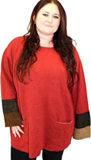 product image for Margaret Winters Plus Size Double Cuff Shirt Sweater (3X, Bittersweet)