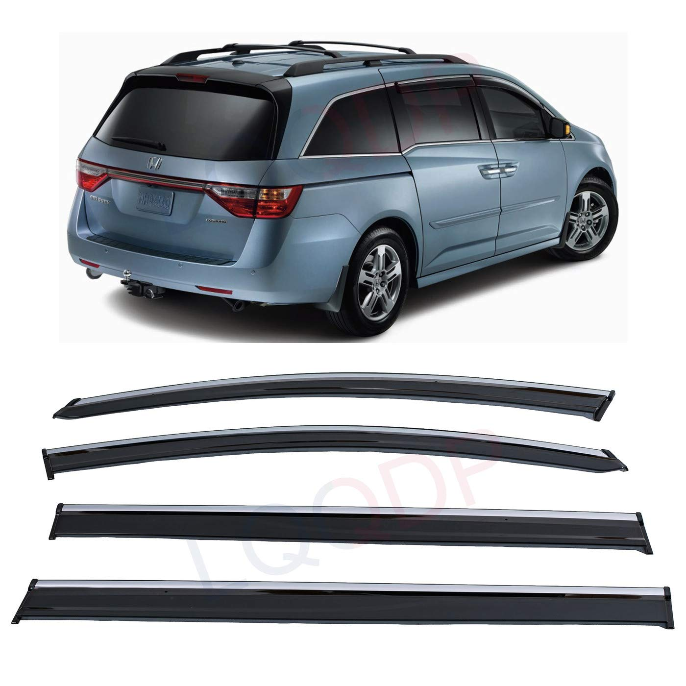 LQQDP 4pcs Smoke Tint With Chrome Trim Outside Mount Tape On//Clip On Style PVC Sun Rain Guard Vent Window Visors Fit 11-17 Honda Odyssey RL5