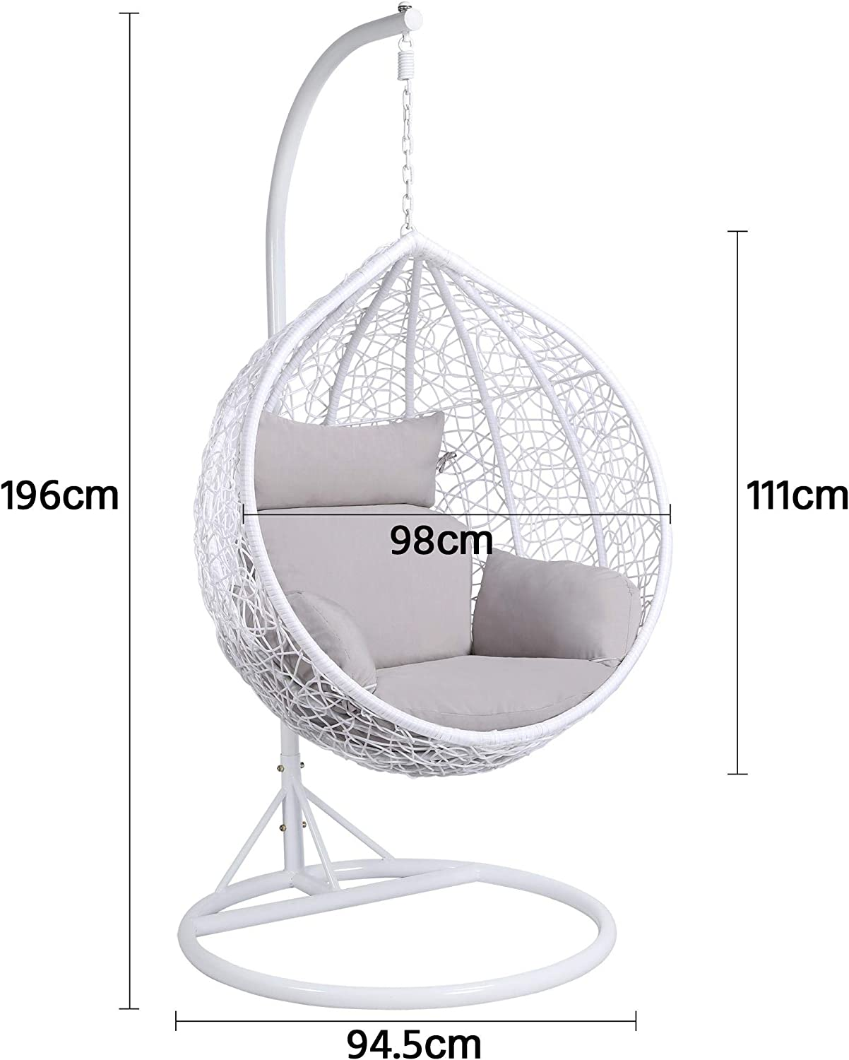 Mid Century Rattan Chair, Yaheetech Rattan Swing Chair Hanging Garden Patio Indoor Outdoor Egg Chair With Stand Cushion And Cover White 150kg Capacity Amazon Co Uk Garden Outdoors